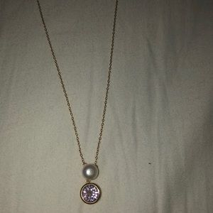 purple stone with pearl gold chain necklace